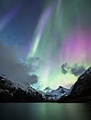 Aurora borealis over a fjord