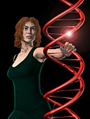 Woman and DNA, conceptual image