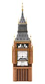 Big Ben clock tower and mechanism, illustration