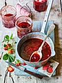 Home-made strawberry jam with vanilla
