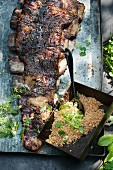 Grilled churrasco ribs with Farofa (Brazil)