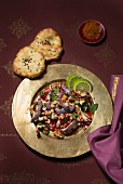 Grilled aubergine salad with pomegranate seeds, walnuts and mint