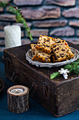 Fruitcake on a wicker plate for Christmas