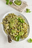 Tagliatelle with homemade pesto and pistachios