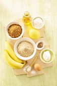 Ingredients for banana bread with ground hazelnuts
