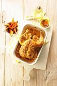 Spicy roast chicken with harissa oil