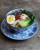 Szechuan Udon noodle soup with meat, a boiled egg, and Chinese cabbage (Japan)
