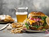 A cheddar cheese burger