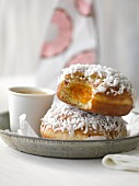 Coconut doughnuts filled with jam