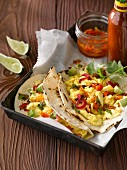 Mexican scrambled eggs on tortillas