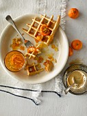 Waffles with marmalade