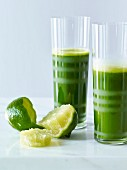 Green vegetable juice with lime