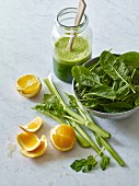 Spinach and celery smoothie with orange