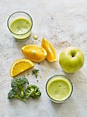 Broccoli and apple juice with orange