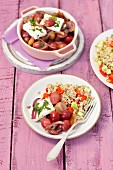Barley with baked grapes, feta, and red onion