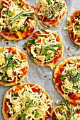 Vegetarian pizzas with red pepper and rosemary