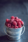 A small metal bucket of freshly picked raspberries