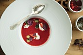 Strawberry gazpacho with purple basil