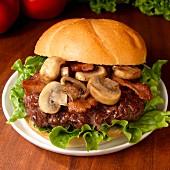 Hamburger with mushrooms, bacon, lettuce