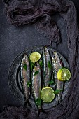 Fresh sardines with slices of lime on a metal plate (seen from above)