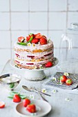 Strawberry cake with a carrot cake base and cream cheese