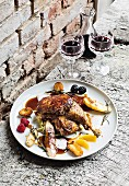 Uckermark duck on a bed of creamy savoy cabbage