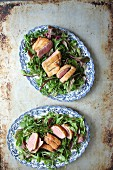 Mixed salad leaves with duck breast
