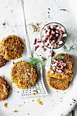 Spelt fritters topped with beetroot and feta