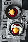 Deep-fried vanilla ice cream with raspberry coulis