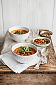 Tomato soup with rocket and herb croutons