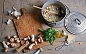 Zutaten für Pilzsuppe