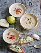 Celery soup with pear and with chestnut