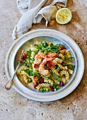 Fusilli pasta with peas, prawns and chorizo