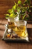 Flower tea in glasses