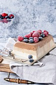 Three layers vanilla, coffee and chocolate ice cream cake, served with frozen berries and macaroons biscuits on rectangular white plate