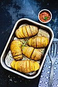 Hasselback potatoes with raw ketchup