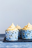 Three Chocolate Cupcakes with Salted Caramel Buttercream