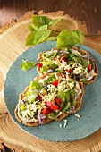 Spelt flatbread with wild herb salad