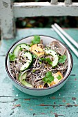 Otsu salad (Soba noodles, fresh cucumber, tofu, cilantro, black and white sesame, Japan)