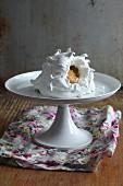 Pavlova on a cake stand