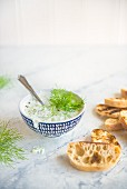 Cucumber and yoghurt tzaziki with grilled ciabatta