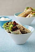 Pork and corn salsa tortilla wraps
