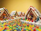 Mehrere Lebkuchenhäuser mit Süßigkeiten verziert und Strasse aus Jelly Beans