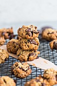 Almond and tahini cookies with chocolate chips
