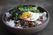 Rice with mince, coriander, and a fried egg