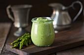 Asparagus pesto in a glass jar