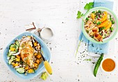 Quinoa salad and tabbouleh with chicken