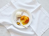 Orange polenta cake with vanilla ice cream