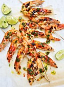 Prawn skewers with herbs and limes