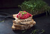 Bread topped with vegan beetroot spread and fresh cress